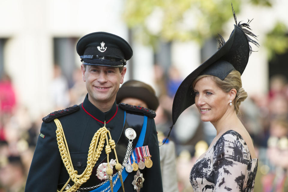 Prince Edward of England and Countess Sophie of Wessex attend the wedding ceremony of Prince Guillaume of Luxembourg and Princess Stephanie of Luxembourg at the Cathedral of our Lady of Luxembourg in Luxembourg. (Photo by Stephane Cardinale/Corbis via Getty Images)