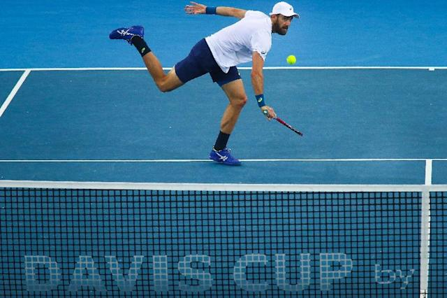 Steve Johnson of the US hits a return during their doubles tennis match against Sam Groth and John Peers of Australia in the world group quarter-final Davis Cup clash in Brisbane on April 8, 2017 (AFP Photo/Patrick HAMILTON)