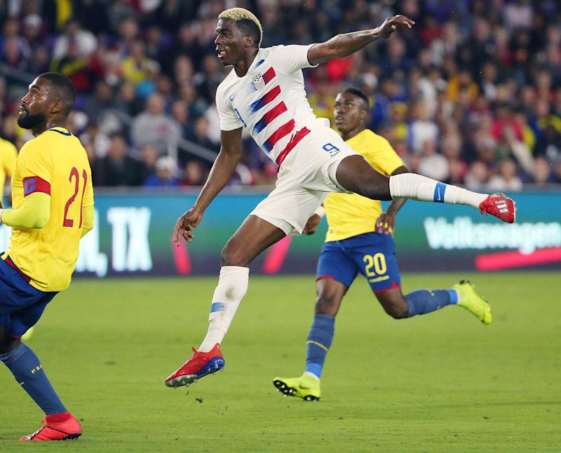 The USA's Gyasi Zardes (9) scores the game's only goal against Ecuador during a friendly at Orlando City Stadium on Thursday, March 21, 2019, in Orlando, Fla. (Stephen M. Dowell/Orlando Sentinel/TNS via Getty Images)
