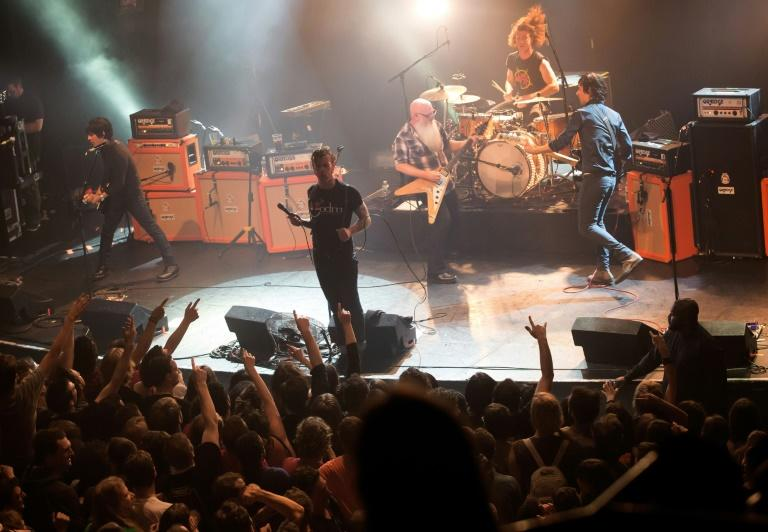 Eagles of Death Metal on stage on November 13, 2015 at the Bataclan in Paris, shortly before the attacks
