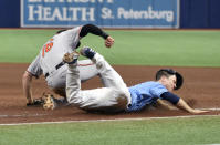 Tampa Bay Rays' Joey Wendle, right, dives into first base as Baltimore Orioles' Trey Mancini (16) makes the put out during the fourth inning of a baseball game Sunday, June 13, 2021, in St. Petersburg, Fla. (AP Photo/Steve Nesius)