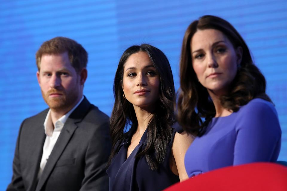 LONDON, ENGLAND - FEBRUARY 28:  (L-R) Prince Harry, Meghan Markle and Catherine, Duchess of Cambridge attend the first annual Royal Foundation Forum held at Aviva on February 28, 2018 in London, England. Under the theme 'Making a Difference Together', the event will showcase the programmes run or initiated by The Royal Foundation.  (Photo by Chris Jackson - WPA Pool/Getty Images)