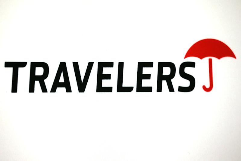 The logo of Dow Jones Industrial Average stock market index listed company Travelers Companies Inc (TRV) is seen in Los Angeles, California, United States, April 27, 2016. REUTERS/Lucy Nicholson