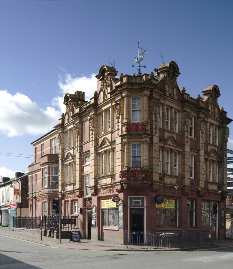 Waterloo Hotel, Smethwick, West Midlands: The Grade II-listed pub has a restaurant with its original grill, along with highly-decorated wall tiles and ceiling, but has fallen into a 'deplorable' state in recent years. (Andrew Clayton/The Victorian Society)