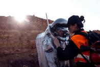 A scientist participates in a demonstration of an experiment led by Austrian and Israeli agencies simulating a mission to Mars near Mitzpe Ramon, Israel