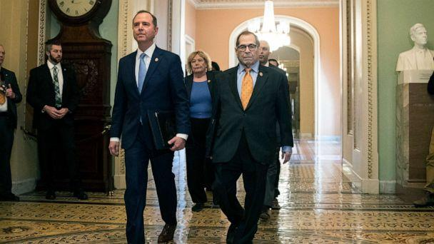 PHOTO: House Intelligence Committee Chairman Adam Schiff, D-Calif., front left, and House Judiciary Committee Chairman, Rep. Jerrold Nadler, D-N.Y., and other House impeachment managers, walk to the Senate chamber on Capitol Hill, Jan. 16, 2020. (Matt Rourke/AP)