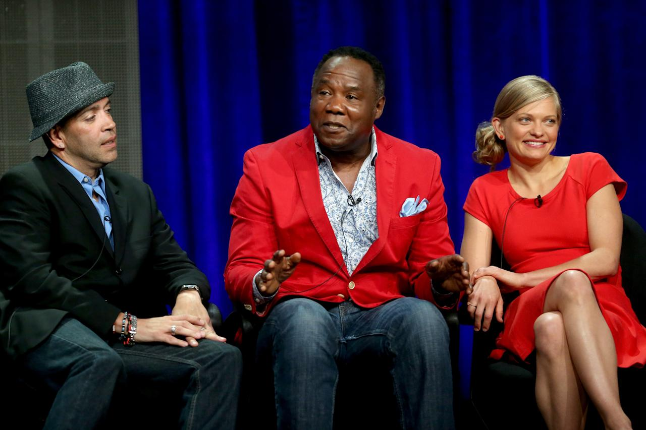 """BEVERLY HILLS, CA - AUGUST 04: (L-R) Actors Luis Antonio Ramos, Isiah Whitlock Jr., and Anastasia Phillips speak onstage during the """"Lucky 7"""" panel discussion at the Disney/ABC Television Group portion of the Television Critics Association Summer Press Tour at the Beverly Hilton Hotel on August 4, 2013 in Beverly Hills, California. (Photo by Frederick M. Brown/Getty Images)"""