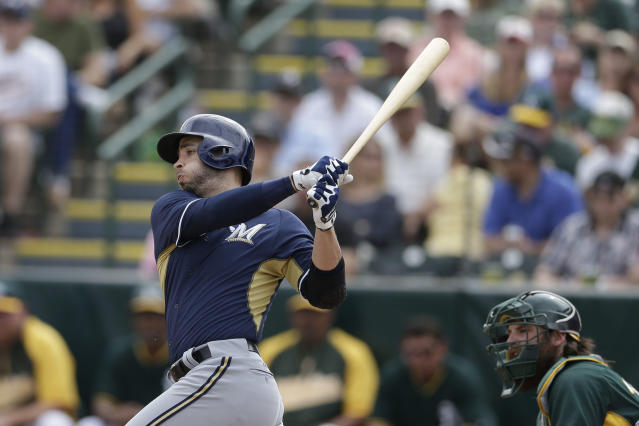 Milwaukee Brewers' Ryan Braun grounds out against the Oakland Athletics during the third inning of a spring training baseball game Thursday, Feb. 27, 2014, in Scottsdale, Ariz. (AP Photo/Gregory Bull)