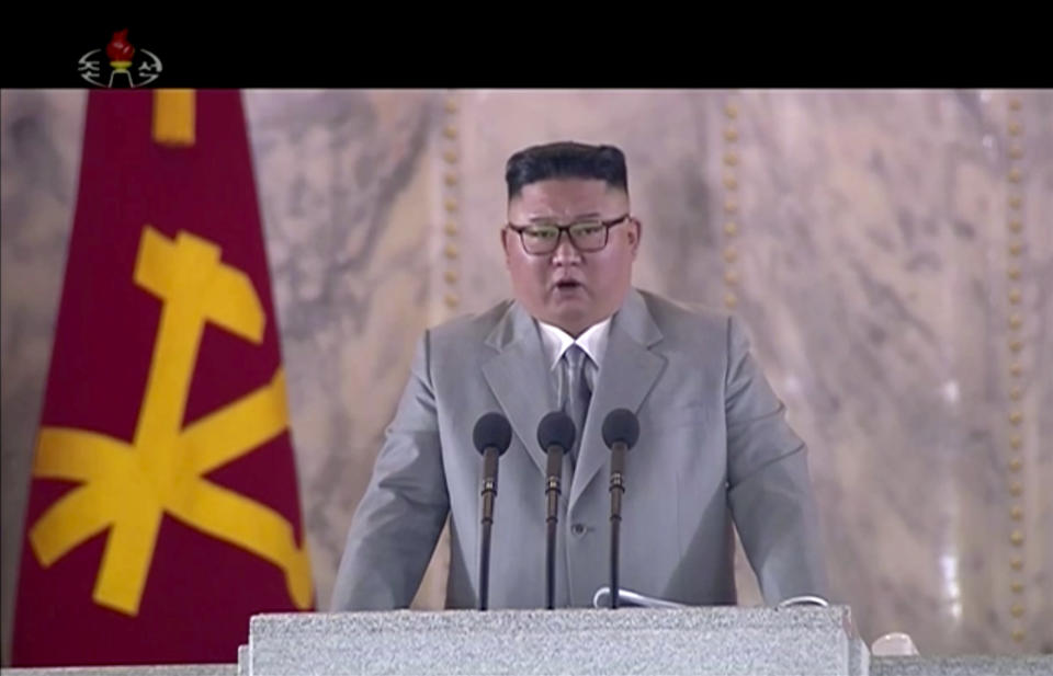 North Korean leader Kim Jong Un delivers a speech during a ceremony to celebrate the 75th anniversary of the country's ruling party in Pyongyang on 10 October. (Photo: AP)