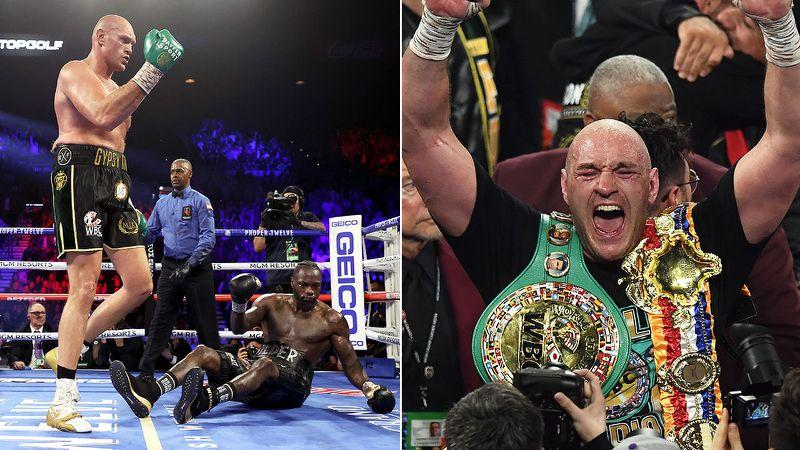 Seen here, Tyson Fury celebrates his seventh round TKO win over Deontay Wilder.
