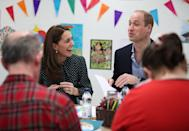 <p>Kate and Will enjoy arts and crafts—and each other's company—during a visit to Evelina London Children's Hospital.</p>