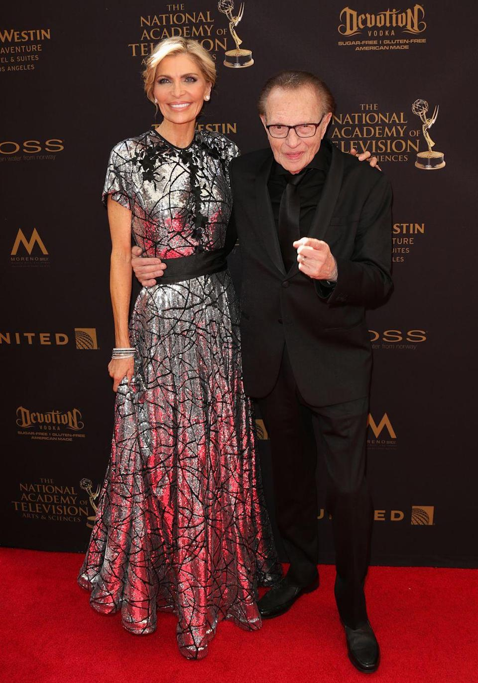 """<p>Television host Larry King has been married <a href=""""https://www.distractify.com/p/celebrities-multiple-marriages"""" rel=""""nofollow noopener"""" target=""""_blank"""" data-ylk=""""slk:eight times"""" class=""""link rapid-noclick-resp"""">eight times</a>, but technically had seven wives. His most recent marriage to actress Shawn Southwick ended in 2019. Before he married Shawn, Larry was with businesswoman Julie Alexander from 1989 to 1992, math teacher Sharon Lepore from 1976 to 1983, his high school sweetheart Alene Akins from 1968 to 1971 (and he was previously married to her from 1961 to 1963), Mickey Sutphin from 1964 to 1967, and Annette Kay in 1961. His first wife was Freda Miller; they married in 1952. He had his marriage with her annulled in 1953.<br></p>"""