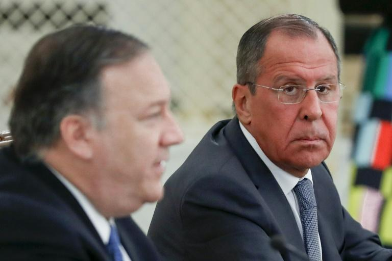 US Secretary of State Mike Pompeo (L) and Russian Foreign Minister Sergei Lavrov (R) -- seen in Sochi in May 2019 -- will meet in Washington on December 10, 2019