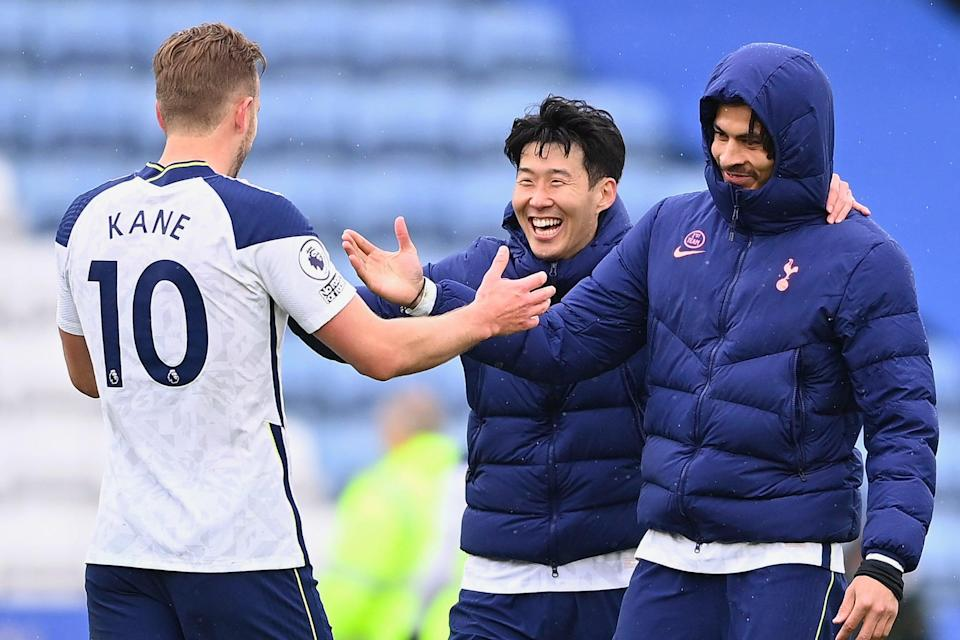 <p>Football friends: The three Spurs attackers in good spirits</p> (Getty Images)