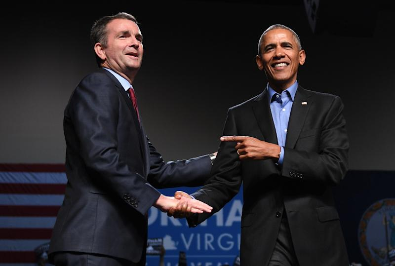 Former President Barack Obama spoke at a campaign rally for Ralph Northam in Richmond, Virginia, on Oct. 19, 2017. (JIM WATSON/Getty Images)