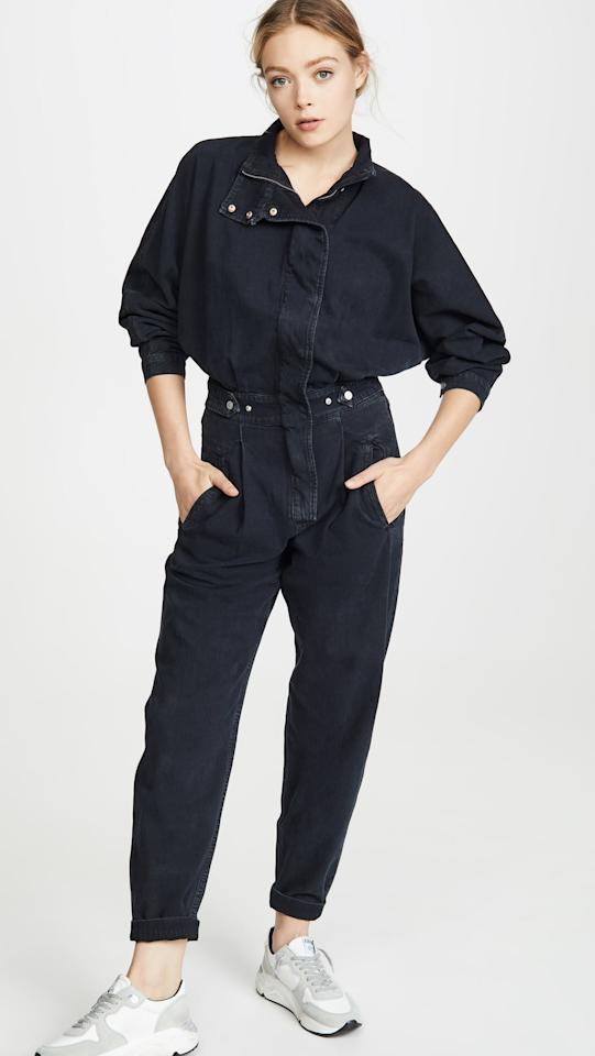 "<p>This <a href=""https://www.popsugar.com/buy/AGOLDE-Ina-High-Collar-Zip-Jumpsuit-556883?p_name=AGOLDE%20Ina%20High%20Collar%20Zip%20Jumpsuit&retailer=shopbop.com&pid=556883&price=325&evar1=fab%3Aus&evar9=47308834&evar98=https%3A%2F%2Fwww.popsugar.com%2Ffashion%2Fphoto-gallery%2F47308834%2Fimage%2F47309070%2FAGOLDE-Ina-High-Collar-Zip-Jumpsuit&list1=shopping%2Cspring%2Cspring%20fashion&prop13=mobile&pdata=1"" rel=""nofollow"" data-shoppable-link=""1"" target=""_blank"" class=""ga-track"" data-ga-category=""Related"" data-ga-label=""https://www.shopbop.com/ina-jumpsuit-high-colllar-zip/vp/v=1/1513669274.htm?folderID=13198&amp;fm=other-shopbysize-viewall&amp;os=false&amp;colorId=14C77&amp;ref=SB_PLP_EP_76"" data-ga-action=""In-Line Links"">AGOLDE Ina High Collar Zip Jumpsuit</a> ($325) makes such a statement.</p>"