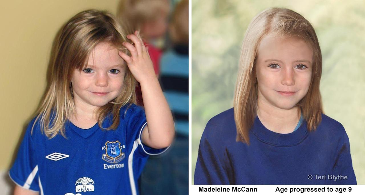 This undated image released by the Metropolitan Police shows composite photos of four year old missing child Madeleine McCann and an age progression computer generated image of her at 9 years old. London's Metropolitan Police said Wednesday April 25, 2012, they will release a new image of the girl, who went missing on a family vacation in the Algarve coast in Portugal in May 2007. Police say they still have regular contact with her parents and continue to investigate. (AP Photo/Metropolitan Police/Teri Blythe)