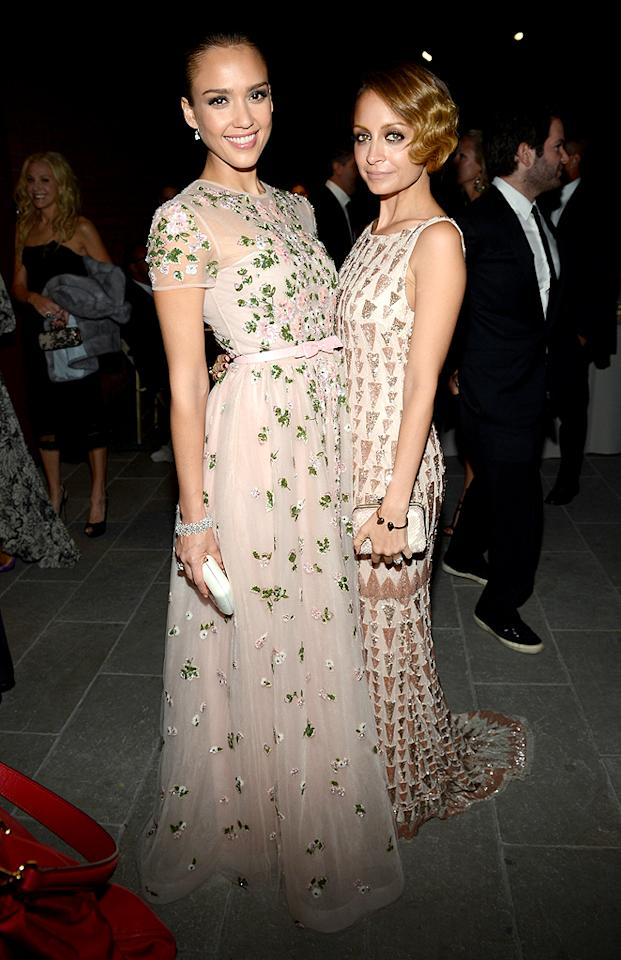 Jessica Alba and Nicole Richie sparkled in feminine frocks at the first annual Baby2Baby Gala presented by Harry Winston at the Book Bindery in Culver City, California, on Saturday night. The fashion-forward moms -- Alba in Valentino and Richie in Lorena Sarbu -- are ambassadors for the organization which provides baby products and clothing to Los Angeles families in need. (11/23/12)