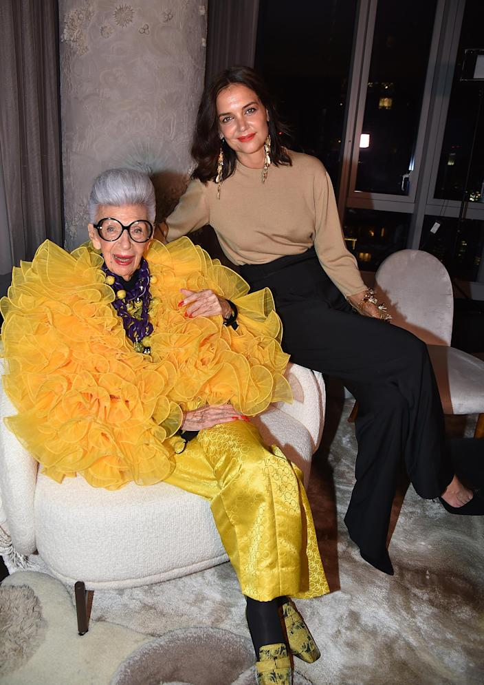 Iris Apfel and Katie Holmes attend Iris Apfel's 100th Birthday Party at Central Park Tower on September 09, 2021. (Patrick McMullan / Patrick McMullan via Getty Image)