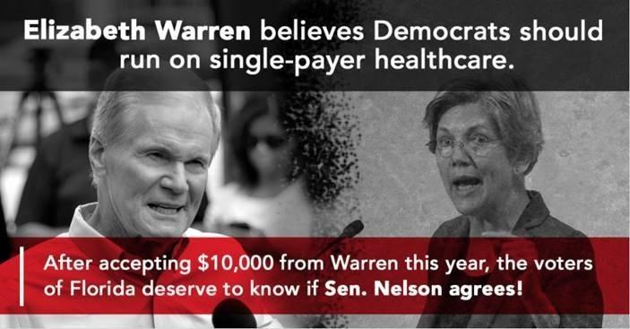 The Republican National Committee intends to make Sen. Bill Nelson (D-Fla.) pay a price for his colleagues' support of single payer. (Republican National Committee)