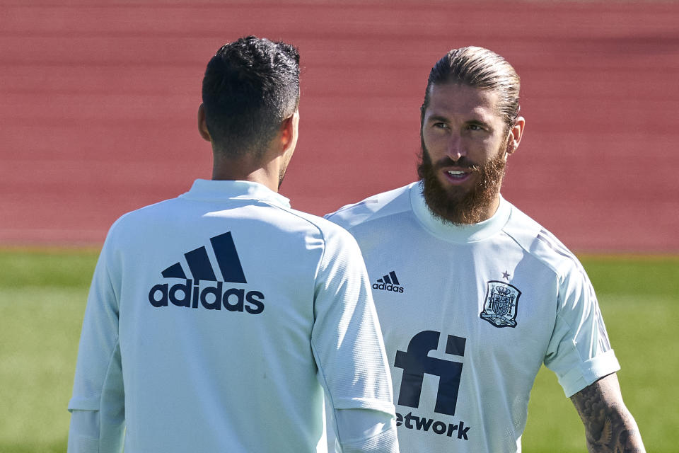 LAS ROZAS DE MADRID, SPAIN - OCTOBER 09: Sergio Ramos of Spain looks on during the training session of the Spanish National team at Ciudad del Futbol on October 09, 2020 in Las Rozas de Madrid, Spain. (Photo by Diego Souto/Quality Sport Images/Getty Images)