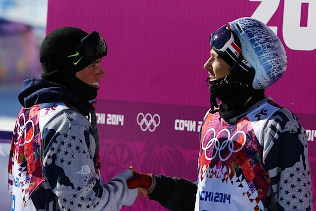 SOCHI, RUSSIA - FEBRUARY 13: Gus Kenworthy (L) and Nicholas Goepper of the United States shake hands after competing in the Freestyle Skiing Men's Ski Slopestyle Finals during day six of the Sochi 2014 Winter Olympics at Rosa Khutor Extreme Park on February 13, 2014 in Sochi, Russia. (Photo by Al Bello/Getty Images)