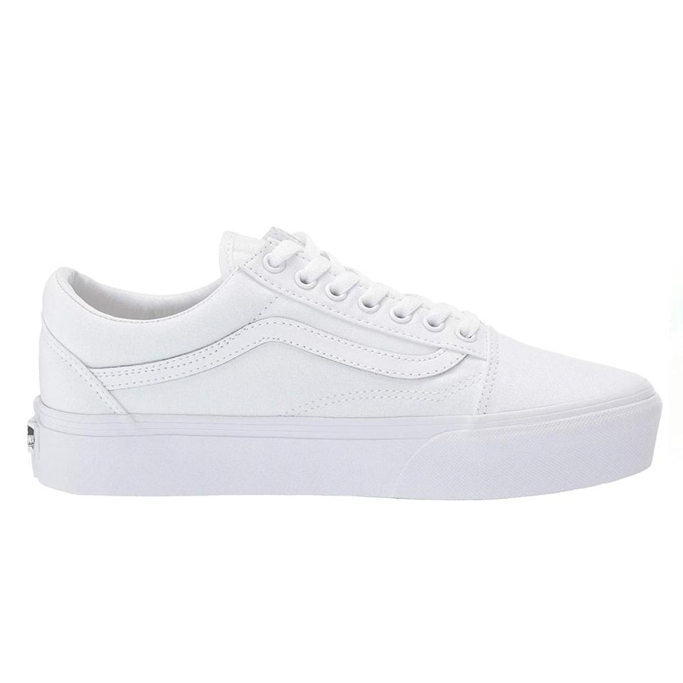 """One more platform for good measure, this time in the form of Vans' iconic skater shoes. $65, Zappos. <a href=""""https://www.zappos.com/p/vans-old-skool-platform-true-white/product/8892800/color/38877"""" rel=""""nofollow noopener"""" target=""""_blank"""" data-ylk=""""slk:Get it now!"""" class=""""link rapid-noclick-resp"""">Get it now!</a>"""