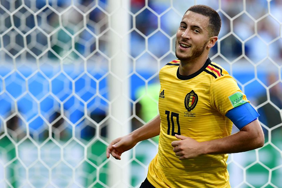 Belgium's Eden Hazard celebrates after scoring their second goal during their Russia 2018 World Cup play-off for third place football match between Belgium and England. (Getty Images)