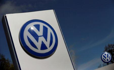 FILE PHOTO: A Volkswagen logo is pictured at Volkswagen's headquarters in Wolfsburg