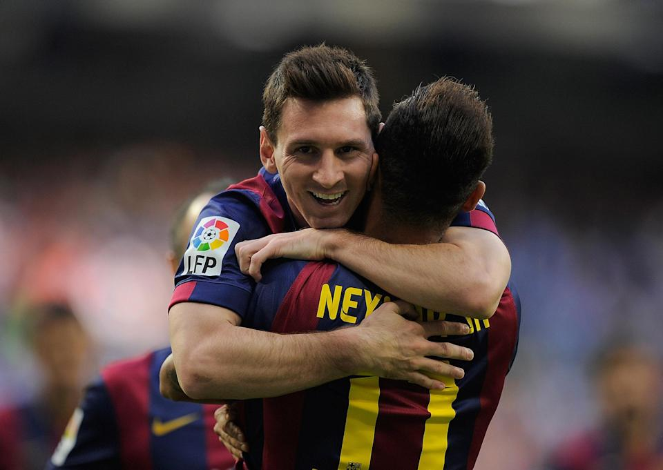 Lionel Messi said goodbye to Neymar on Instagram, which means the Brazilian star's transfer to PSG is imminent. Or so we think. (Getty)
