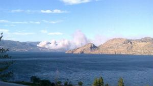Smoke can be seen billowing from a fire just outside of Peachland, B.C.