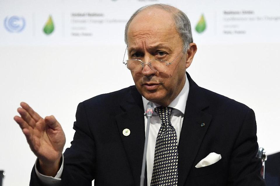French Foreign Minister Laurent Fabius takes part in a plenary session at the COP21 United Nations climate change conference in Le Bourget, outside Paris, on December 9, 2015 (AFP Photo/Dominique Faget)