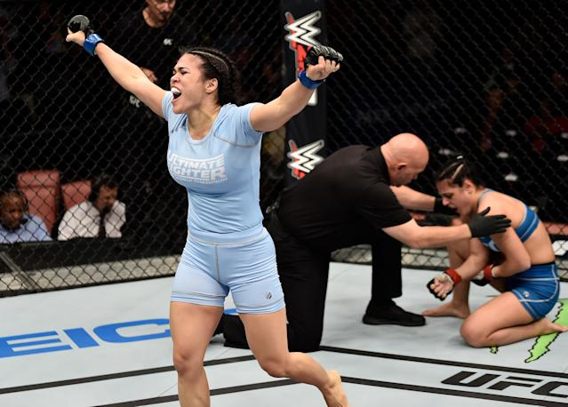 After she was hospitalized from a domestic violence attack, UFC fighter Rachael Ostovich said she felt it was important to follow through with her scheduled fight in January with Paige VanZant. (Photo by Jeff Bottari/Getty Images)