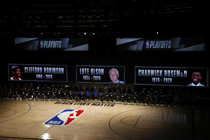 The NBA paid tribute to Clifford Robinson, Lute Olson and Chadwick Boseman on Saturday. (Photo by Kevin C. Cox/Getty Images)