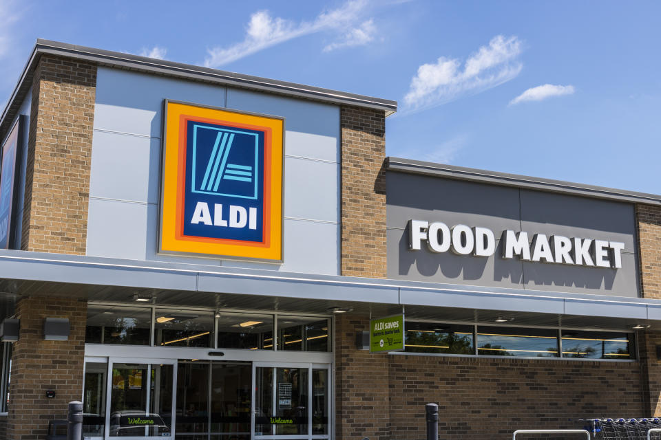 Aldi Discount Supermarket. Aldi sells a range of grocery items, including produce, meat & dairy, at discount prices IX