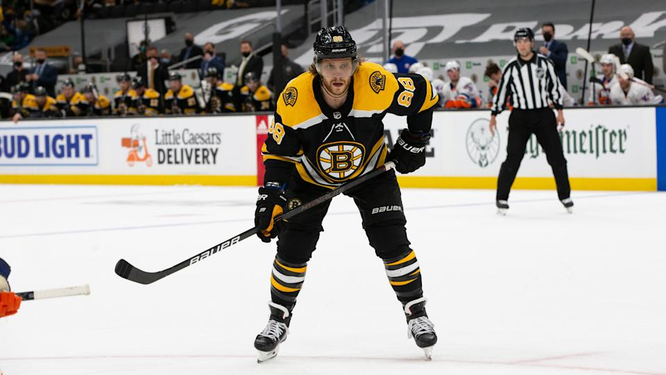BOSTON, MA - MAY 29: David Pastrnak #88 of the Boston Bruins skates against the New York Islanders in Game One of the Second Round of the 2021 Stanley Cup Playoffs at the TD Garden on May 29, 2021 in Boston, Massachusetts. The Bruins won 5-2 and David Pastrnak scored a hat trick. (Photo by Rich Gagnon/Getty Images)