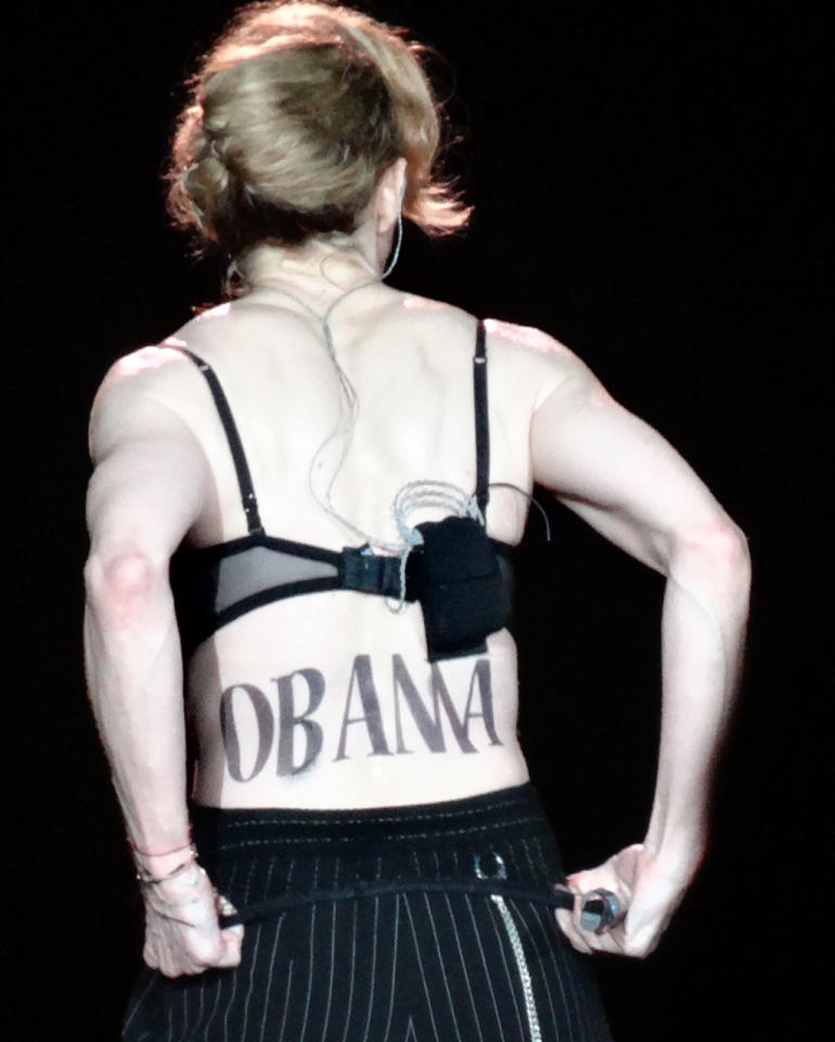Madonna brings her MDNA TOUR to New York's Yankee Stadium on September 6, 2012, and includes a surprise endorsement of President Obama via a temporary back tattoo. (Picture by: Splash News)