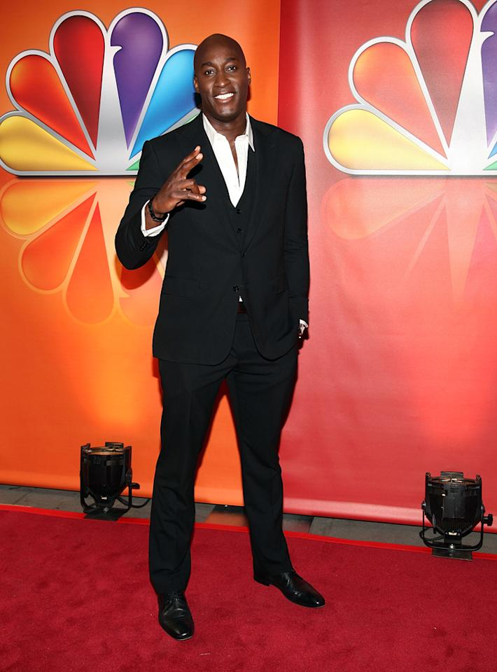 """Jermaine Paul (""""The Voice"""") attends NBC's 2012 Upfront Presentation at 51st Street on May 14, 2012 in New York City."""