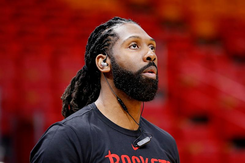 MIAMI, FL - DECEMBER 20: Nene Hilario #42 of the Houston Rockets warms up prior to the game against the Miami Heat at American Airlines Arena on December 20, 2018 in Miami, Florida. NOTE TO USER: User expressly acknowledges and agrees that, by downloading and or using this photograph, User is consenting to the terms and conditions of the Getty Images License Agreement. (Photo by Michael Reaves/Getty Images)