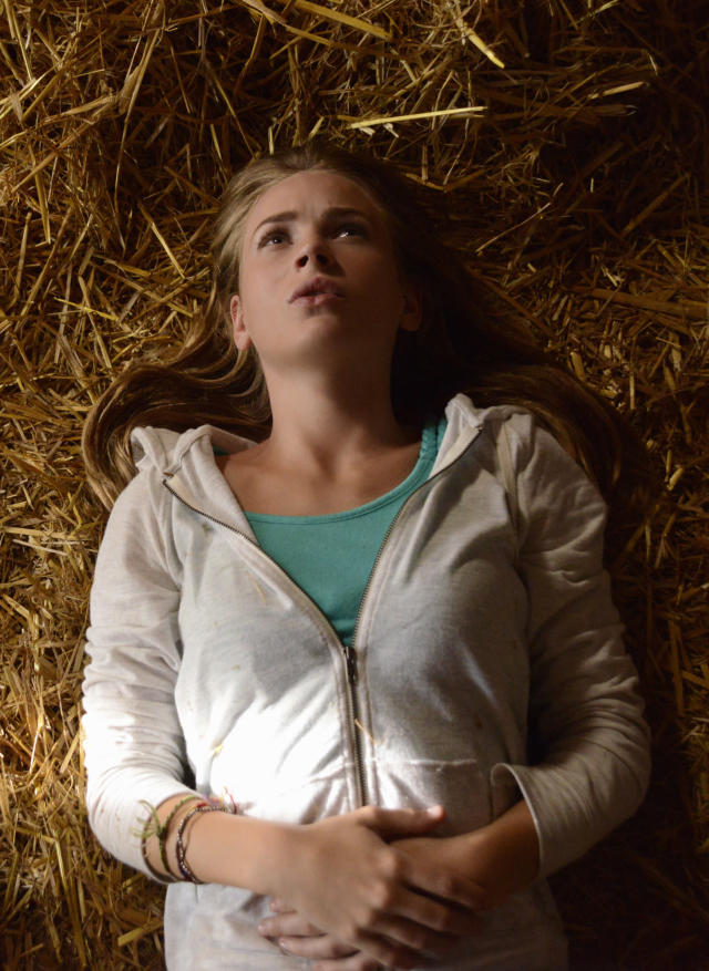 """""""Speak of the Devil"""" - Angie (Britt Robertson) tries to convince Junior to help them learn more about their special connection to the dome on """"Under the Dome."""""""