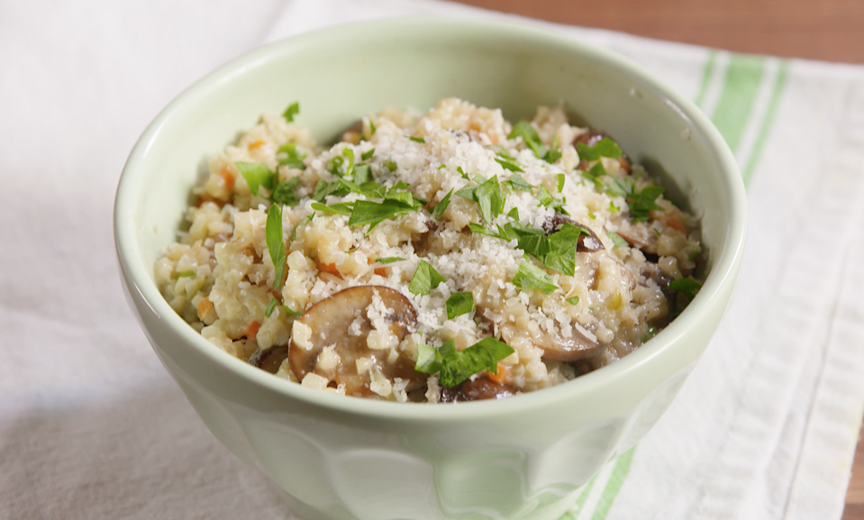 """<p>It's all about the creamy mushroom risotto.</p><p>Get the recipe from <a href=""""/cooking/recipe-ideas/recipes/a50189/mushroom-risotto-with-riced-cauliflower-medley-recipe/"""" data-ylk=""""slk:Delish"""" class=""""link rapid-noclick-resp"""">Delish</a>.</p>"""