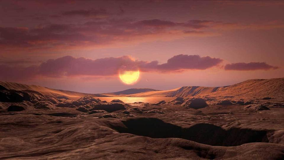 An artist's conception of what Kepler-1649c could look like from its surface.