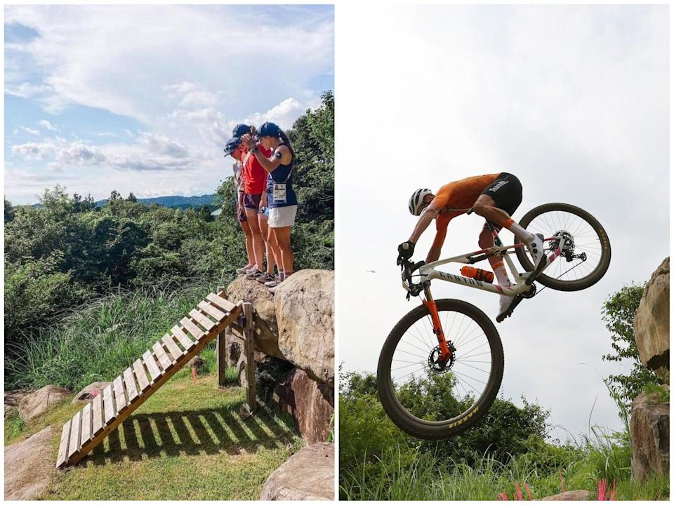 Mathieu van der Poel, right, crashes after the ramp, left, was removed (Getty)