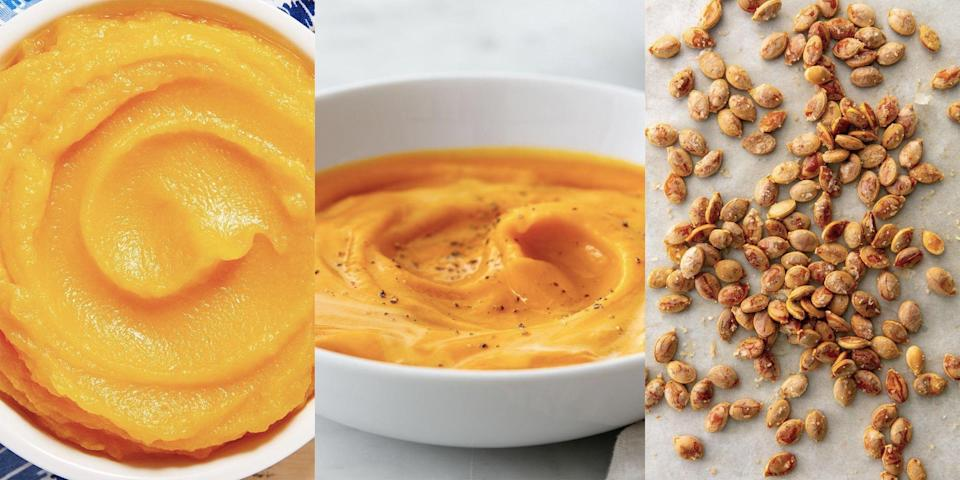 """<p>There's nothing worse than having a ton of leftover <a href=""""https://www.delish.com/uk/cooking/recipes/g34191842/pumpkin-recipes/"""" rel=""""nofollow noopener"""" target=""""_blank"""" data-ylk=""""slk:pumpkin"""" class=""""link rapid-noclick-resp"""">pumpkin</a>, and not being sure what to do with it... And let's face it, no one wants it to go to waste. So, how do you use it up? Whether it's a creamy <a href=""""https://www.delish.com/uk/cooking/recipes/a28784904/easy-pumpkin-soup/"""" rel=""""nofollow noopener"""" target=""""_blank"""" data-ylk=""""slk:pumpkin soup"""" class=""""link rapid-noclick-resp"""">pumpkin soup</a> you fancy, or a tray of <a href=""""http://www.delish.com/uk/cooking/recipes/a37489714/best-roasted-pumpkin-seeds-recipe/"""" rel=""""nofollow noopener"""" target=""""_blank"""" data-ylk=""""slk:roasted pumpkin seeds"""" class=""""link rapid-noclick-resp"""">roasted pumpkin seeds</a> you're after, there's plenty of recipes that put the vibrant, golden squash to good use! </p><p>From <a href=""""https://www.delish.com/uk/cooking/recipes/g33443935/best-soup-recipes/"""" rel=""""nofollow noopener"""" target=""""_blank"""" data-ylk=""""slk:warming soups"""" class=""""link rapid-noclick-resp"""">warming soups</a> to <a href=""""https://www.delish.com/uk/cooking/recipes/g36037842/easy-cake-recipes/"""" rel=""""nofollow noopener"""" target=""""_blank"""" data-ylk=""""slk:delicious bakes"""" class=""""link rapid-noclick-resp"""">delicious bakes</a>, we've rounded up 8 of our favourite ways to use up leftover pumpkin. </p>"""