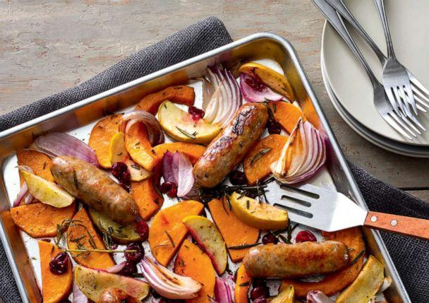 PHOTO: Sausage and fall vegetable sheet-pan supper. (Adam DeTour via Yankee Magazine)