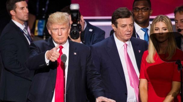 PHOTO: Donald Trump, flanked by campaign manager Paul Manafort and daughter Ivanka, checks the podium in preparation for accepting the GOP nomination to be President at the 2016 Republican National Convention in Cleveland, July 20, 2016. (Bill Clark/CQ Roll Call via Getty Images FILE)