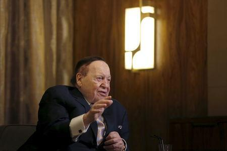 Gambling giant Las Vegas Sands Corp's Chief Executive Sheldon Adelson speaks during an interview with Reuters in Macau, China December 18, 2015. REUTERS/Tyrone Siu