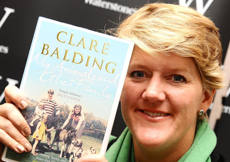 Clare Balding signs copies of her new book My Animals and Other Family at Waterstones, in Leadenhall Market, London.