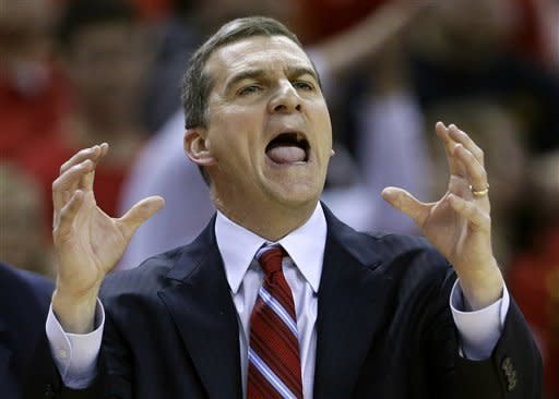 Maryland head coach Mark Turgeon reacts to an official's call in the first half of an NCAA college basketball game against North Carolina State in College Park, Md., Wednesday, Jan. 16, 2013. (AP Photo/Patrick Semansky)