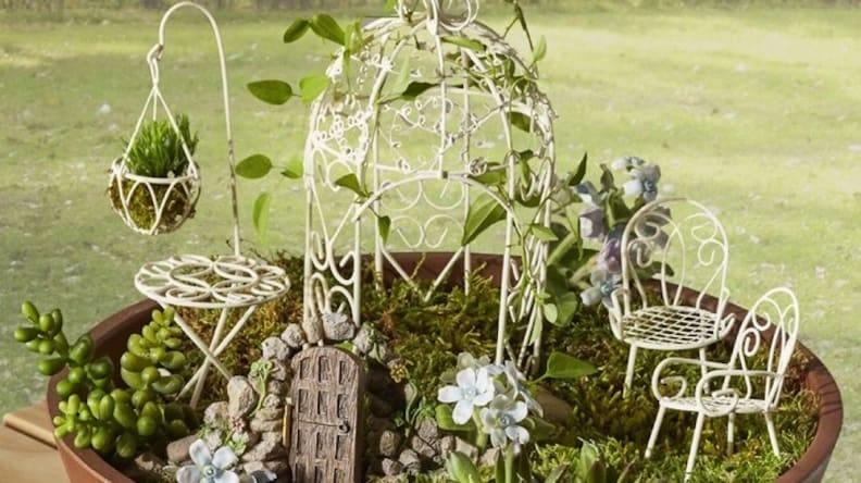Kids and adults alike will get a kick out of this fairy furniture set.